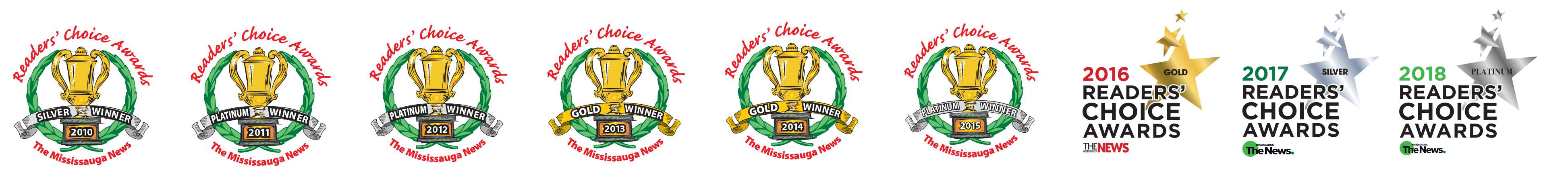 Best of Mississauga Winner logos 2010 to 2018